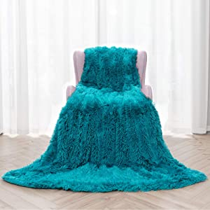 """Topblan Faux Fur Sherpa Blanket, Shaggy Fuzzy Throw Blanket, Premium Sherpa Fleece Warm and Cozy Throw Blanket for Couch Sofa Bed Photo Props 50"""" x 60"""", Teal"""