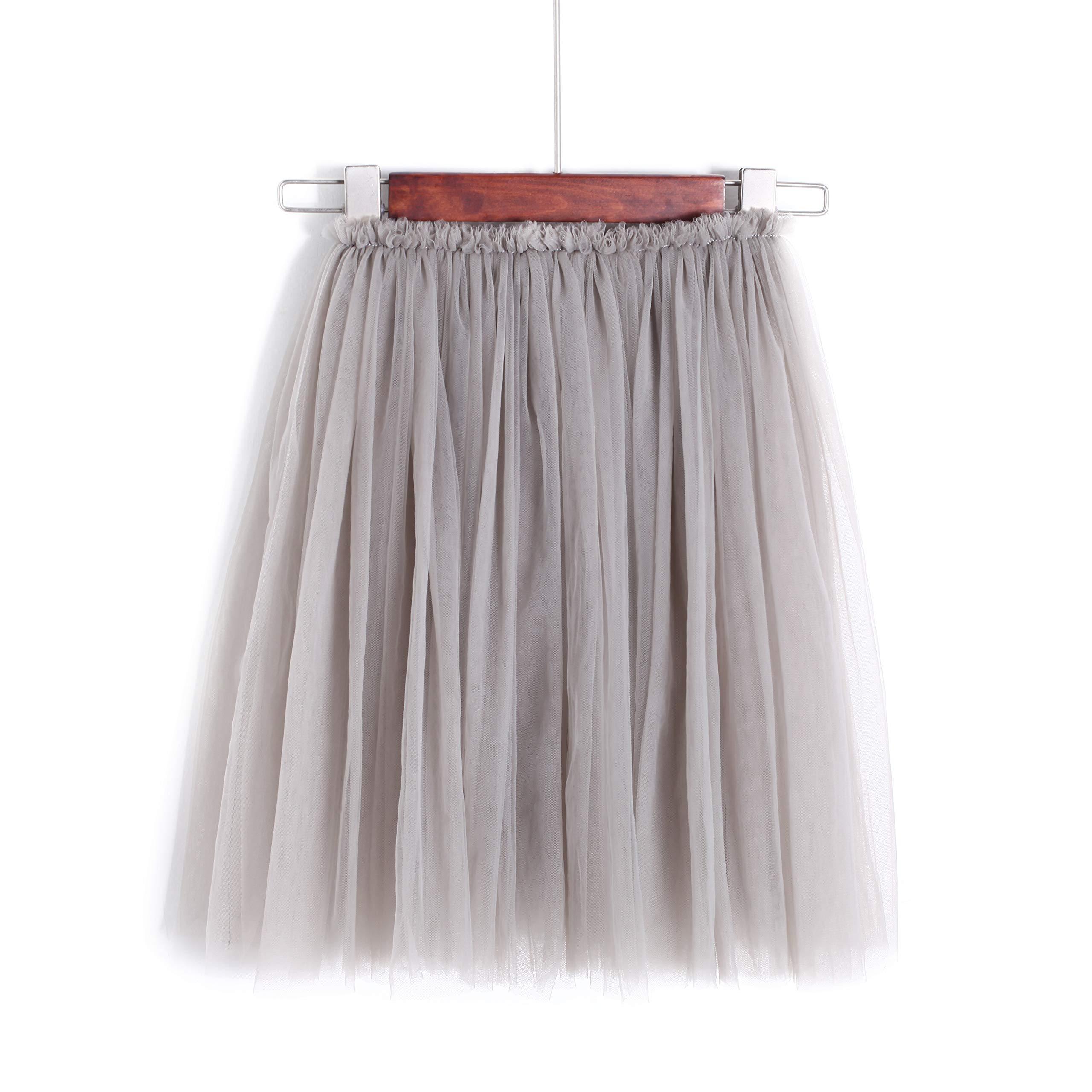 Flofallzique Tulle Tutu Girls Skirt Mid Calf 1-9 Year Old Toddler Skirt Dancing Skirt Girls Clothes (1, Gray)