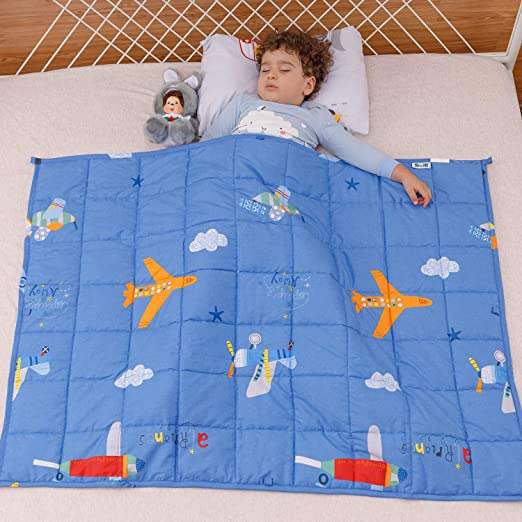 Perfect for Toddler Children from 30 to 60 lbs Sivio 5 lbs Weighted Blanket for Kids Weighted Blanket with 100/% Cotton Premium Glass Beads Blue Airplane 36x48