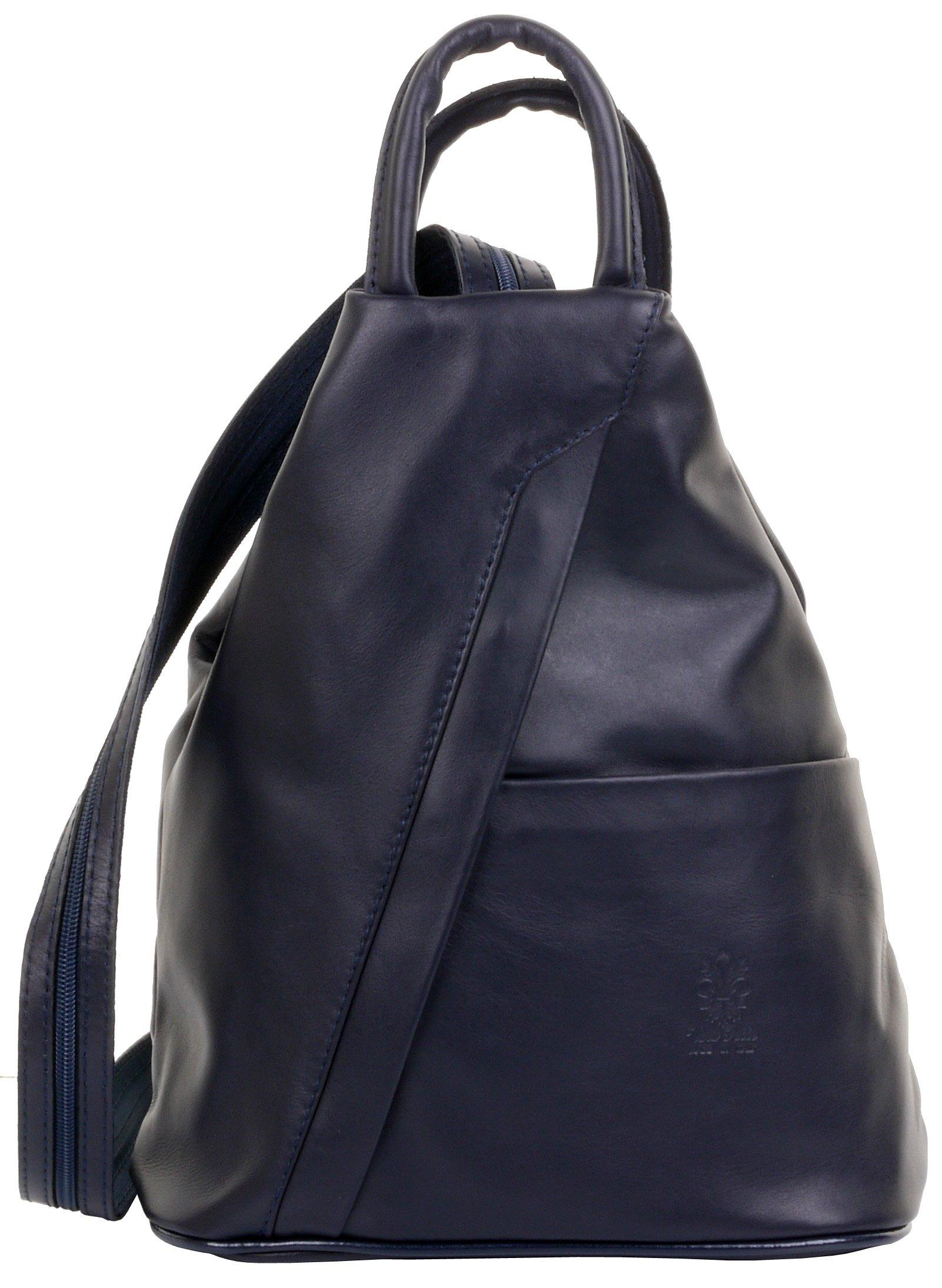Primo Sacchi Italian Soft Napa Leather Navy Blue Top Handle Shoulder Bag Rucksack Backpack