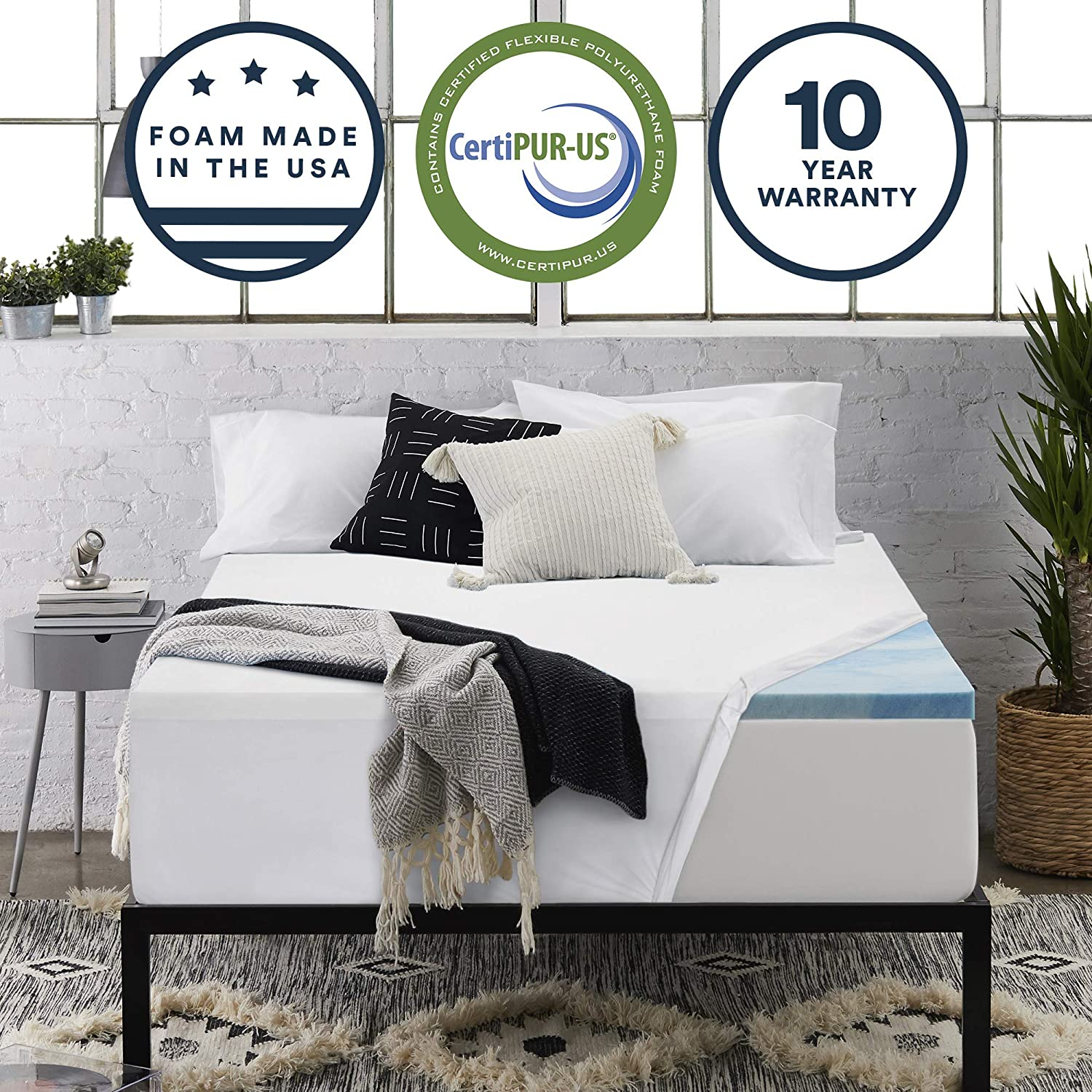 Sleep Innovations 2.5-inch Gel Memory Foam Mattress Topper with 100 Cotton Cover Queen, Made in The USA with a 10-Year Warranty