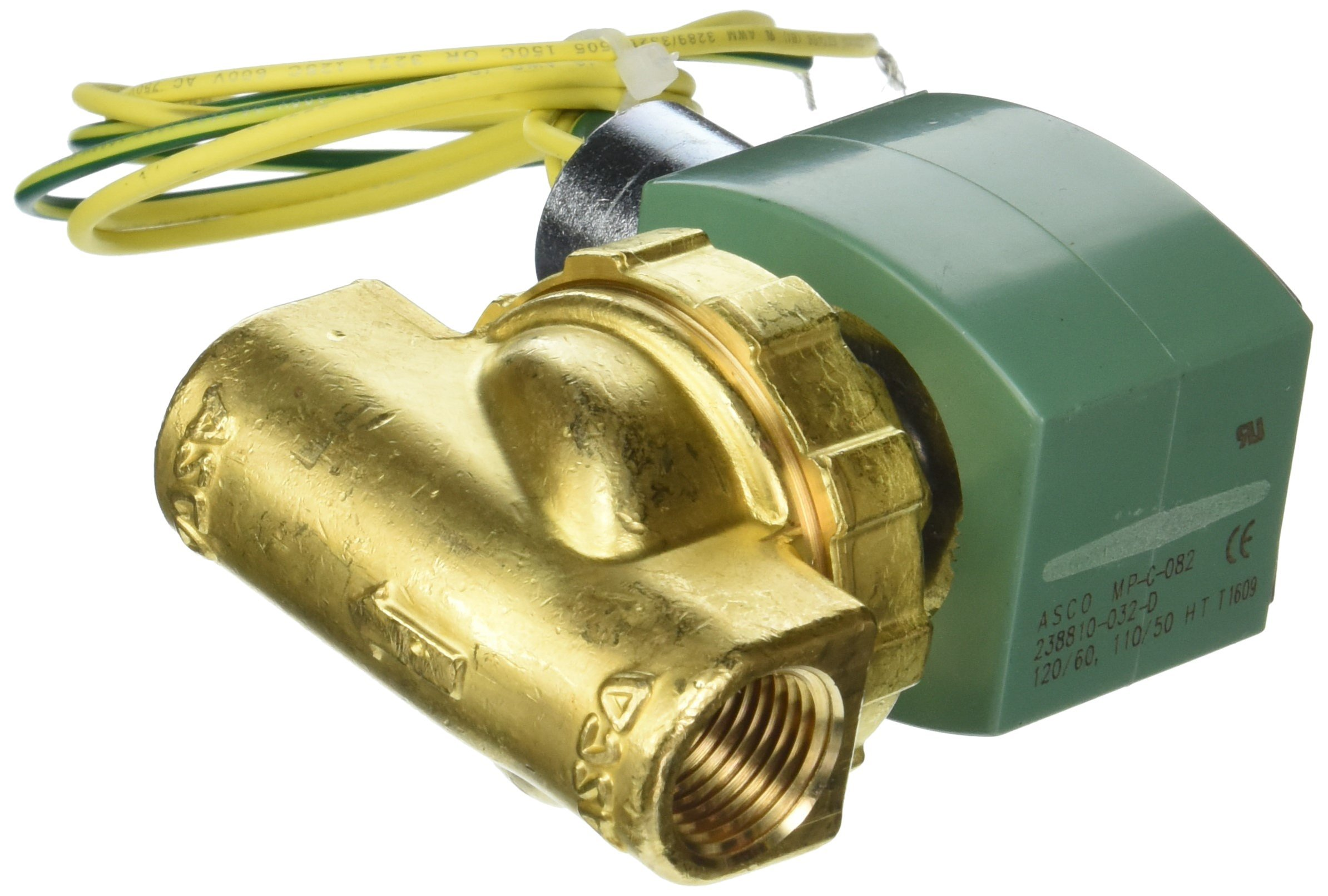 ASCO 8220G406 -120/60,110/50 Brass Body Hot Water and Steam Pilot Operated Diaphragm and Piston Valve, 125 psi Maximum Steam Operating Pressure, 1/2'' Pipe Size, 2-Way Normally Closed, EPDM/PTFE Sealin by Asco (Image #1)