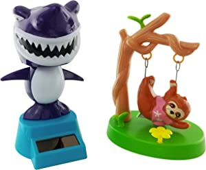 Outdoors By Design Solar Dancing Sloth and Shark Toy Figures | Also Called Dashboard Dancing Toy Decorations or Solar Powered Bobble Head Toy Figures