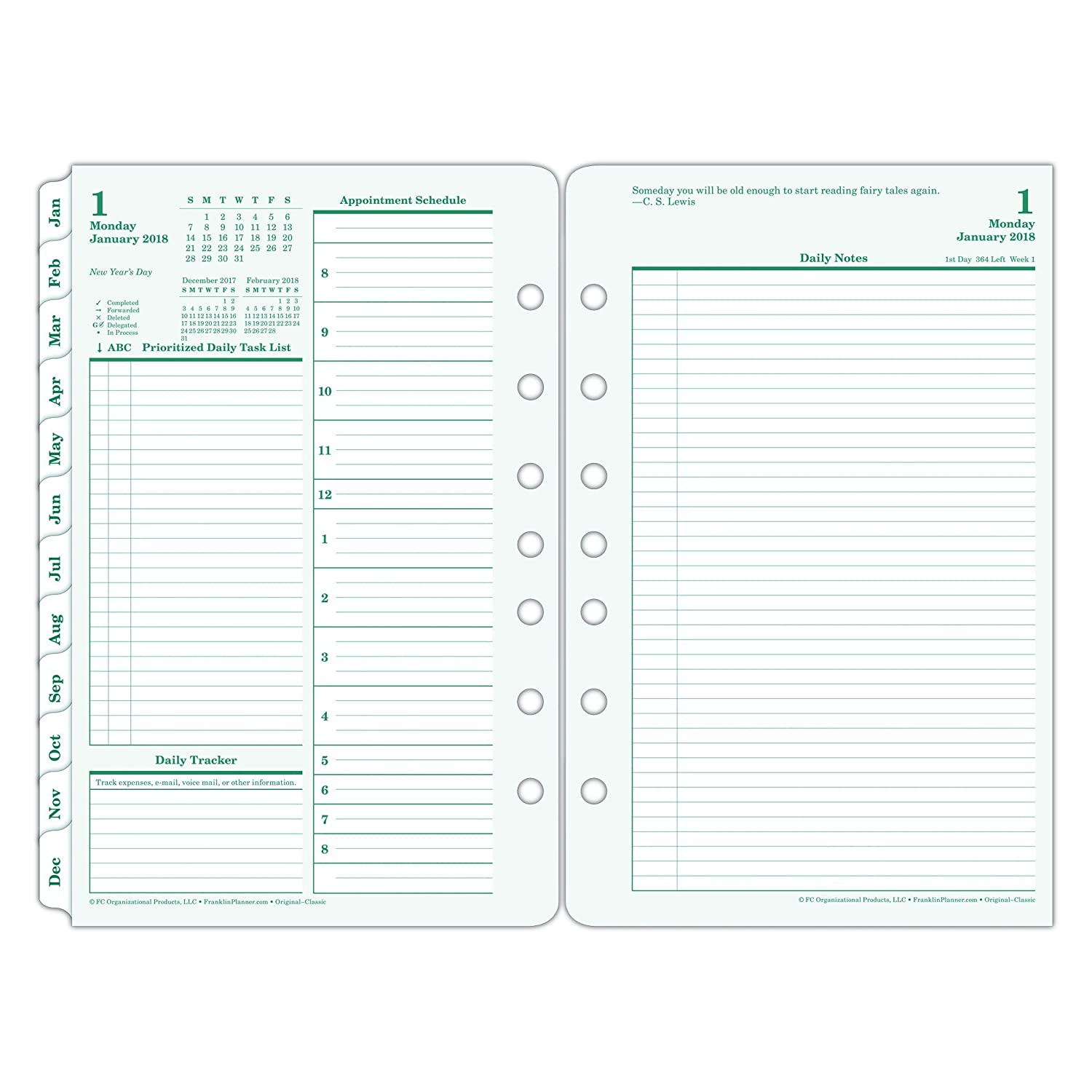 Amazon.com : FranklinCovey 35419 Original Dated Daily Planner Refill ...