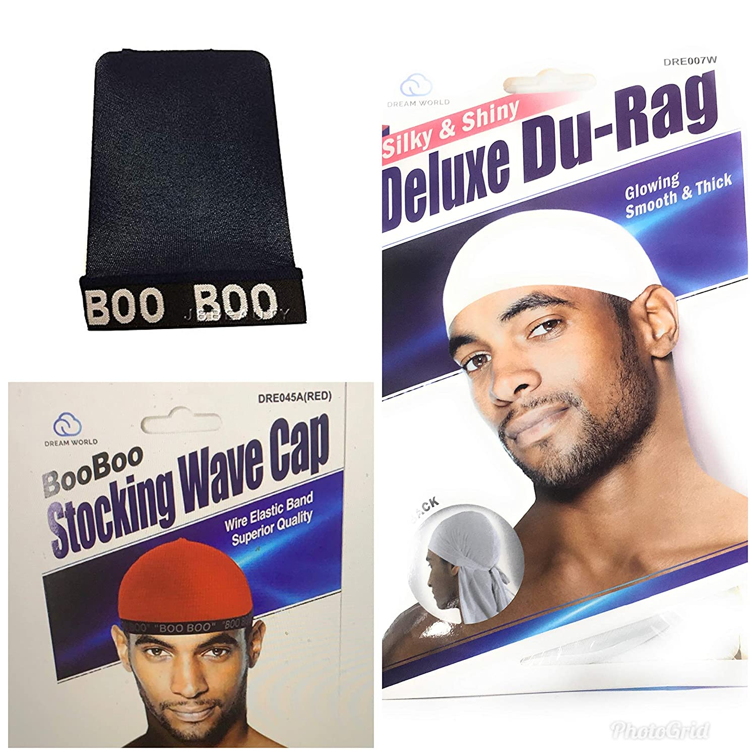 US SELLER Dream Boo Boo Stocking Wave Cap Wire Elastic Band Stretch Du Rag RED Unisex Clothing, Shoes & Accs Hats