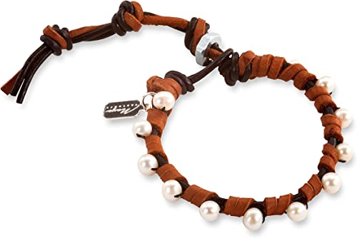 Sterling Silver Bracelet With Brown Leather /& Mother of Pearl 8.5 INCH