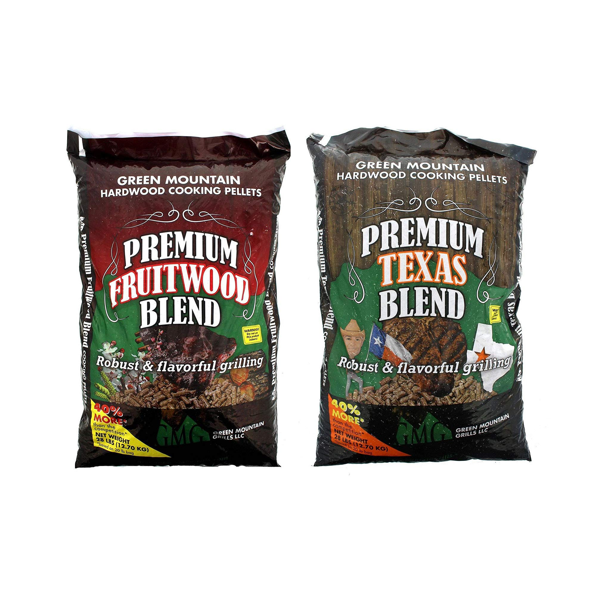 Green Mountain Grills Premium Texas 100% Pure Hardwood Grilling Cooking PelletsGreen Mountain Grills Premium Fruitwood Pure Hardwood Grilling Cooking Pellets