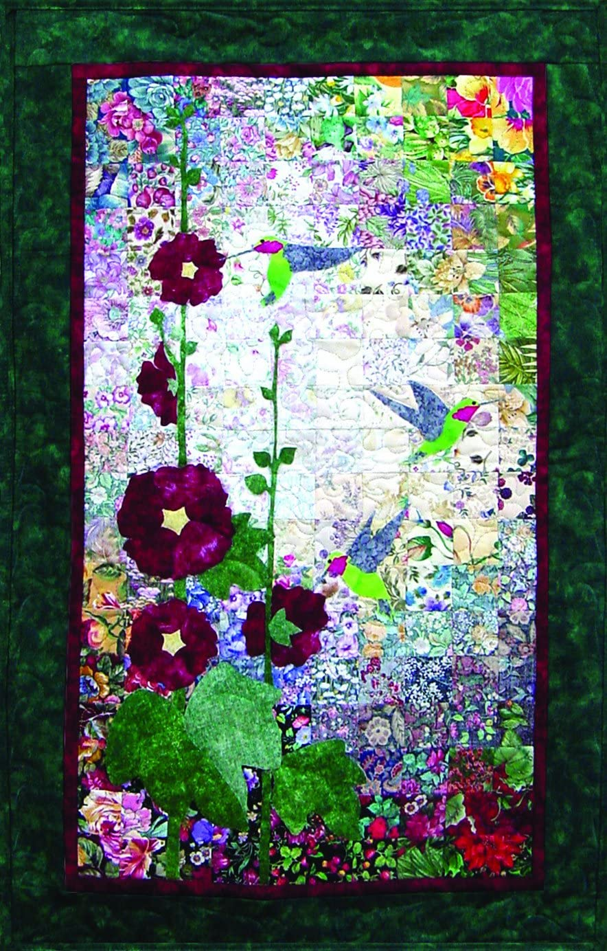 Whims Watercolor Quilt Kits Hummingbirds and Hollyhocks Quilting Supplies