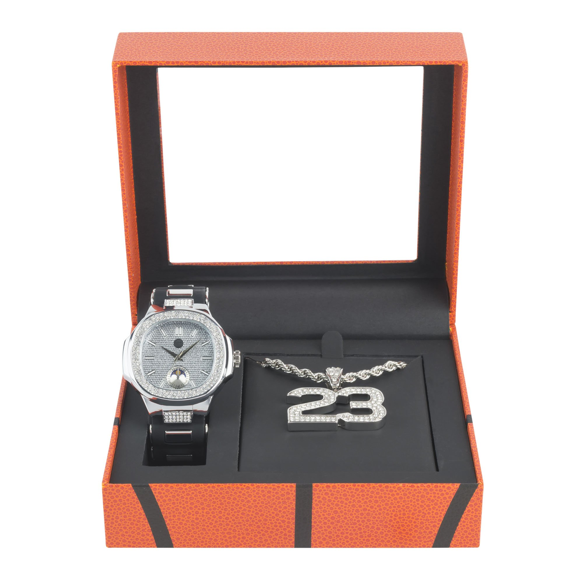 Men's Hip Hop Silver Watch and Iced Out 23 Basketball Pendant with Chain Gift Set