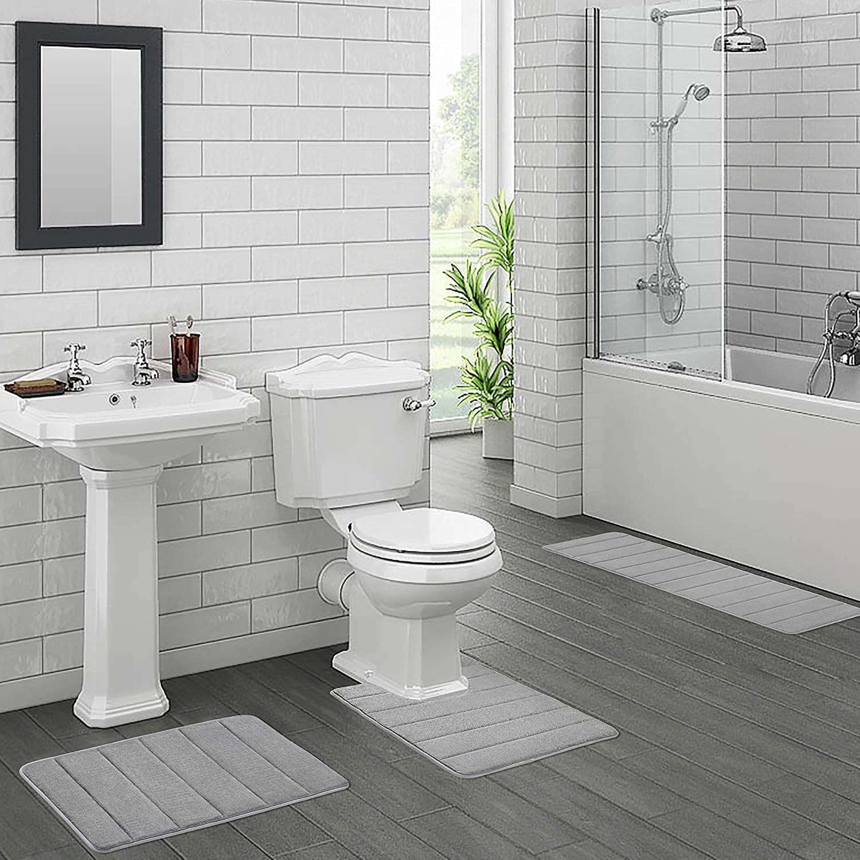 Black Slip Bathroom Bathmat Water Soft Memory Foam Bath Mat Non Absorbent Bath Rubber Back Runner Kitchen and Bath Rug Mat 16x24