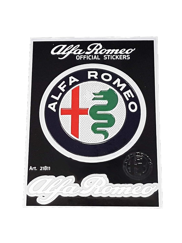 94 x 131 mm Alfa Romeo 21812 Adesivi Ufficiali 2 Quadrifogli e 2 Scritte