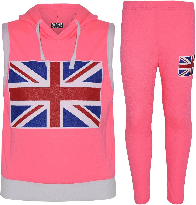 Kids Girls Boys England Flag Sleeveless Crop Black Hooded Top /& Legging Set 7-13