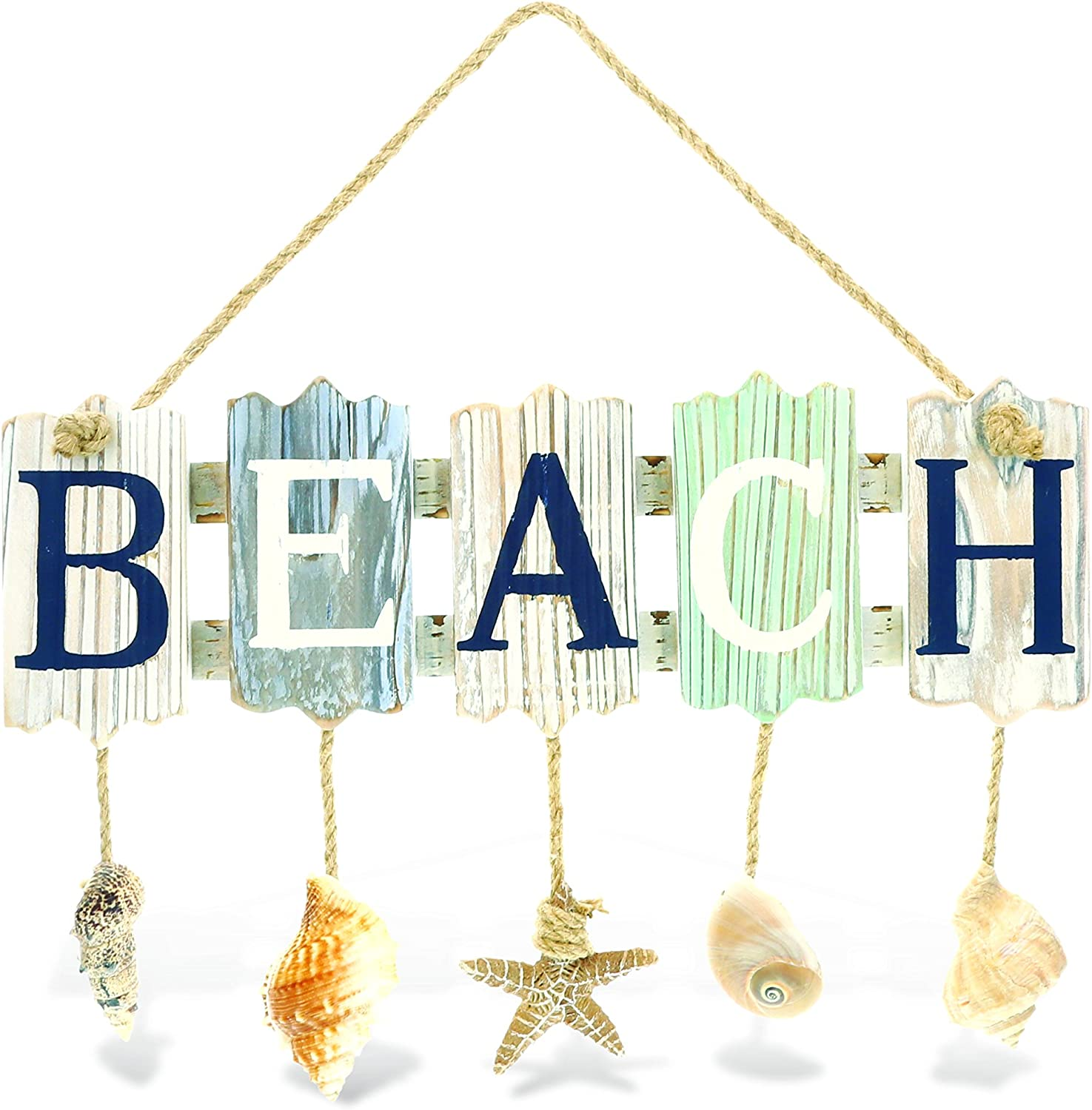 "CoTa Global Aquarius Beach Sea Shells Wooden Rope Sign, 13.7″ x 8.5"" Indoor Outdoor Coastal Beach Themed Wall Décor Hanging Handcrafted Windchime - Home Accent Kitchen Decoration Unique Souvenir"