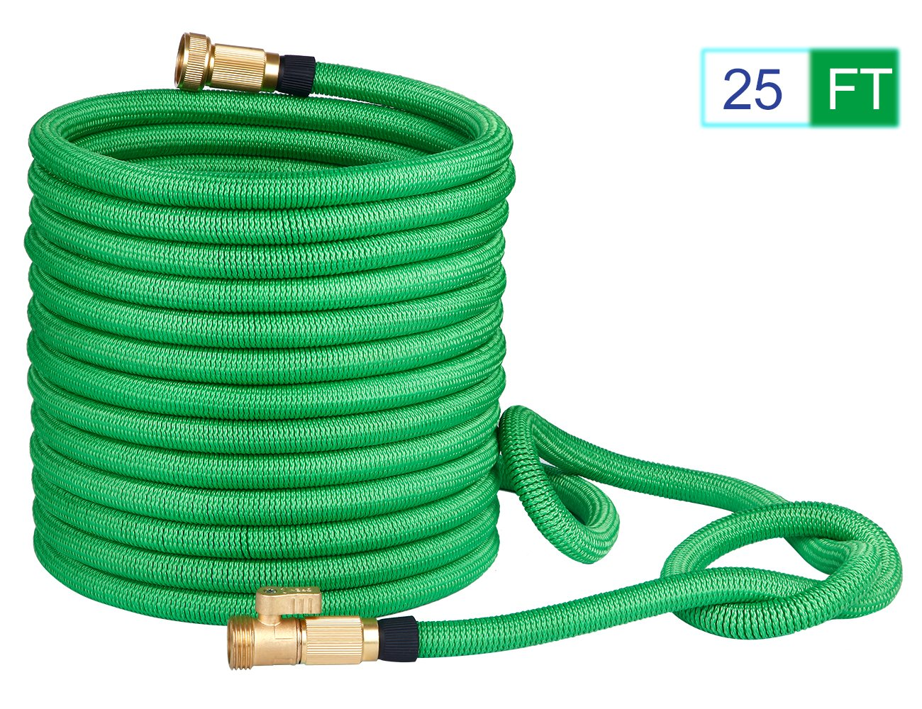 PEGZOS 2018 New Improved Expandable Garden Hoses Expanding Water Hose with Double Latex Core, Extra Density Outside Woven, Solid Brass Connector for Car Outdoor Lawn Use (25FT, Green)