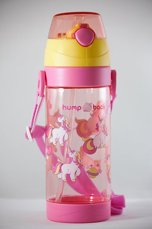 Humpback Unicorn 子供用ウォーターボトル 550ml/18.6オンス ストラップ付き B07DBWMSRX ピンク
