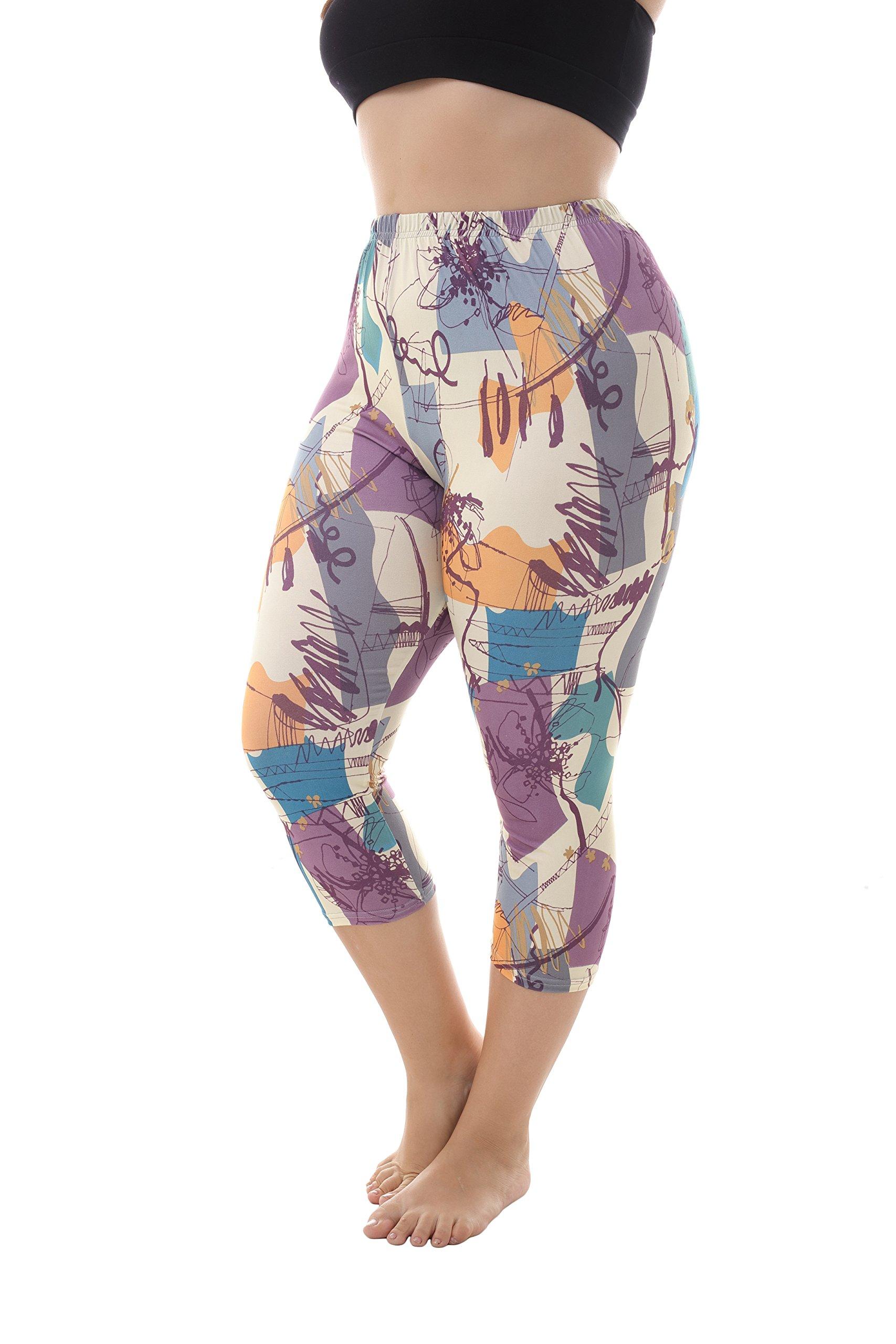 ZERDOCEAN Women's Plus Size Lightweight Printed Capri Leggings style-803 1X