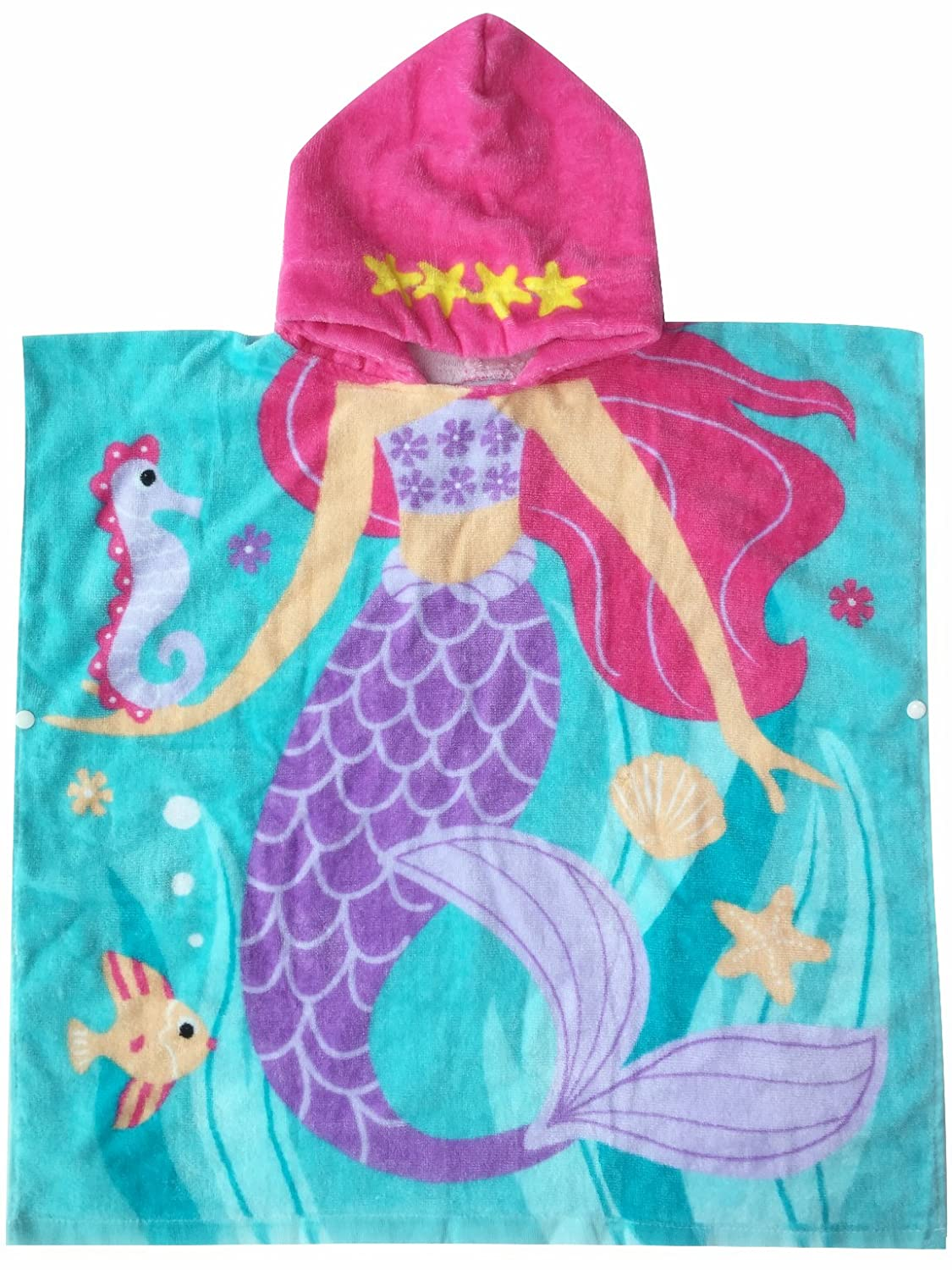 "Hooded Towel for Girls 1 to 6 Years Old Kids and Toddlers 100% Premium Cotton Ultra Soft, Super Absorbent, Extra Large 48"" x 24"", Use for Bath/ Pool/ Beach Times, Mermaid Theme"