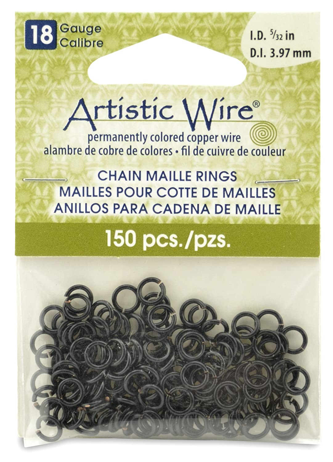 Artistic Wire Beadalon 9/64-inch 150 Piece 18-Gauge Chain Maille Rings, Black A314-18-02-06