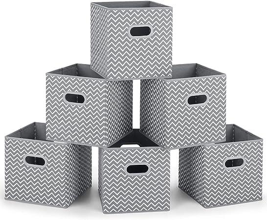MaidMAX Cubos de Almacenaje, Cajas Plegables de Tela con Doble Mango de Plástico, para Casa, Oficina, Zigzag Gris/Blanco, 6 pcs, 26,6 x 26,6 x 27,9 cm: Amazon.es: Hogar