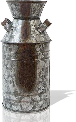 Coastal Space Designs Milk Can VASE, Large, Galvanized Metal