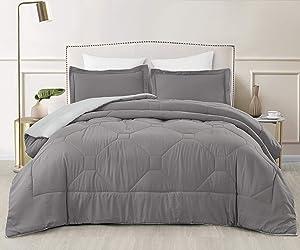 SupraSoft Nebulous Ultra Soft Micromink Sherpa Down Alternative Comforter Set, Grey, Queen
