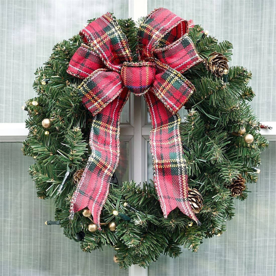 BrylaneHome Small Pre-Lit Double-Sided Wreath (Green,0)