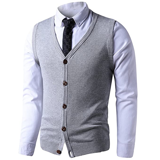 LTIFONE Mens Button Down Sweater Vest Basic Plain Short Sleeve Sweater  Cardigan Sweaters Slim Fit with 52bd651de