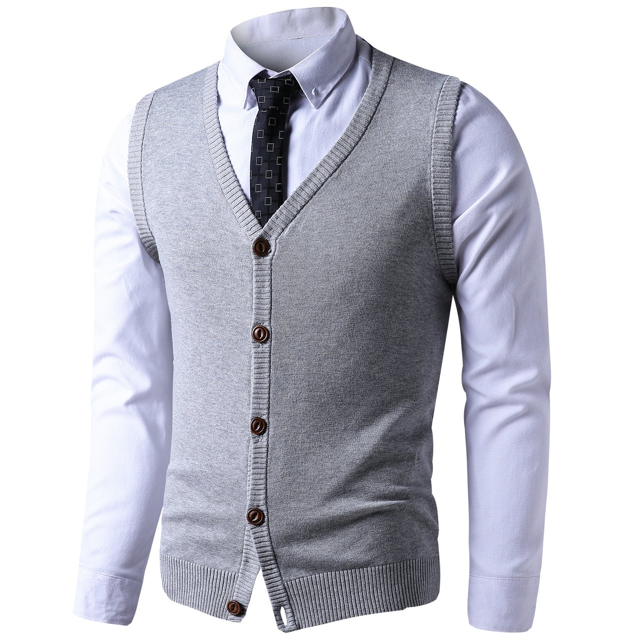 LTIFONE Mens Button Down Sweater Vest Basic Plain Short Sleeve Sweater Cardigan Sweaters Slim Fit with Ribbing Edge(Grey,L)