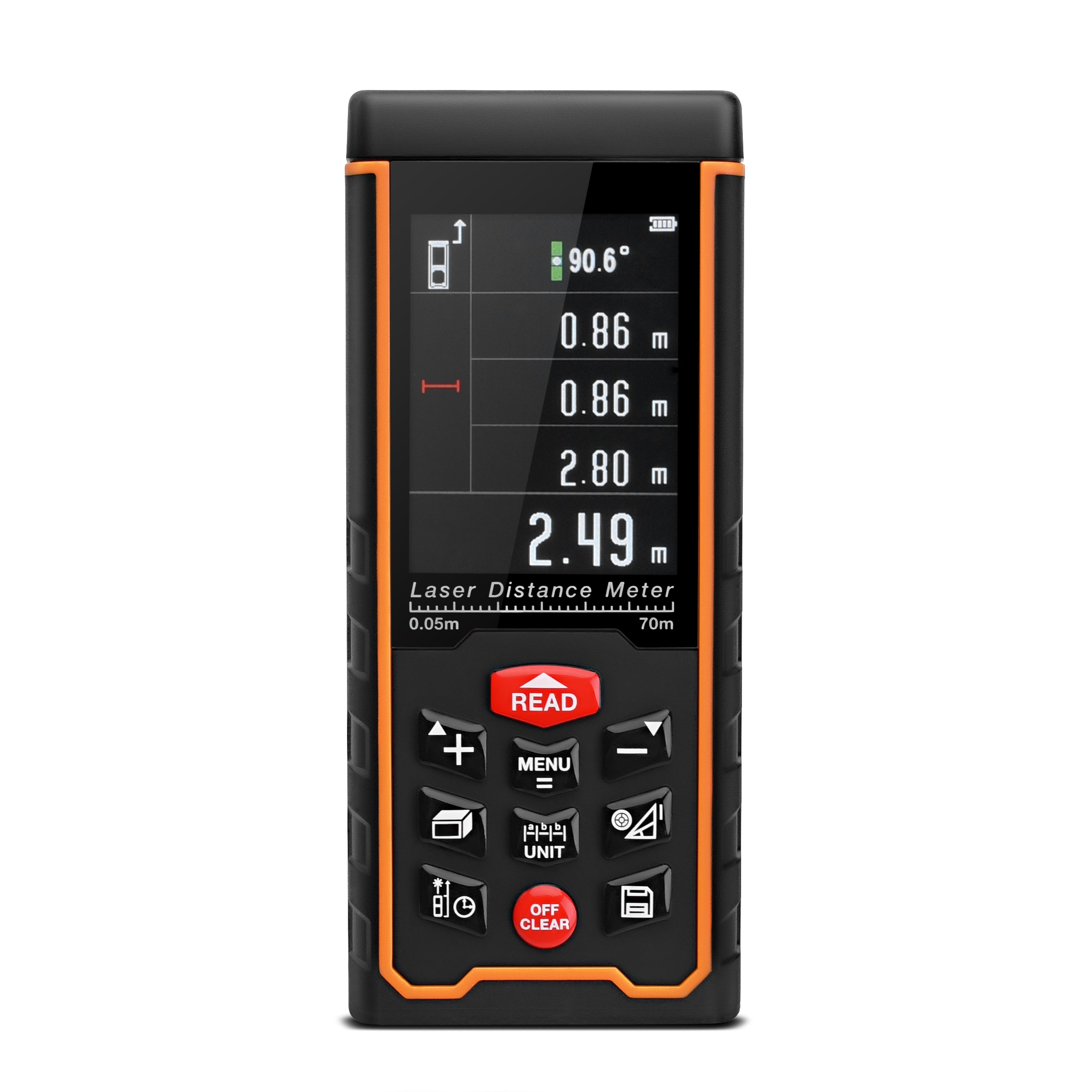 LUOYIMAN Laser Measure Digital Distance Laser Measure 229 Feet with Area Volume Calculation and Angles Measurement (70M)