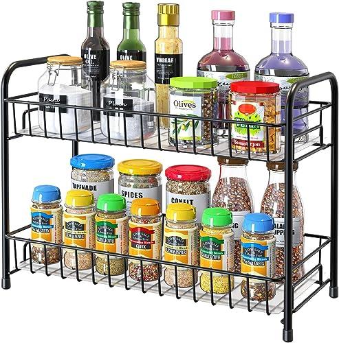Spice Rack Organizer for Countertop, 2-Tier Metal Spice Organizer Standing Rack Shelf Storage Holder with Shelf Liner for Kitchen Cabinet Pantry Bathroom Office, Black