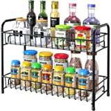 Spice Rack Organizer for Countertop, 2-Tier Metal Spice Organizer Standing Rack Shelf Storage Holder with Shelf Liner for Kit