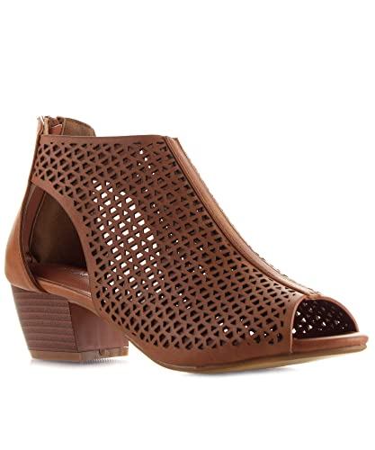 Womens Peep Toe Geometric Cut Out Design Stacked Heel Ankle Booties TAN (7)
