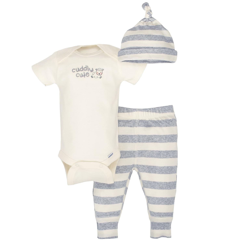 Gerber Baby 3-Piece Organic Onesies Bodysuit, Pant and Cap