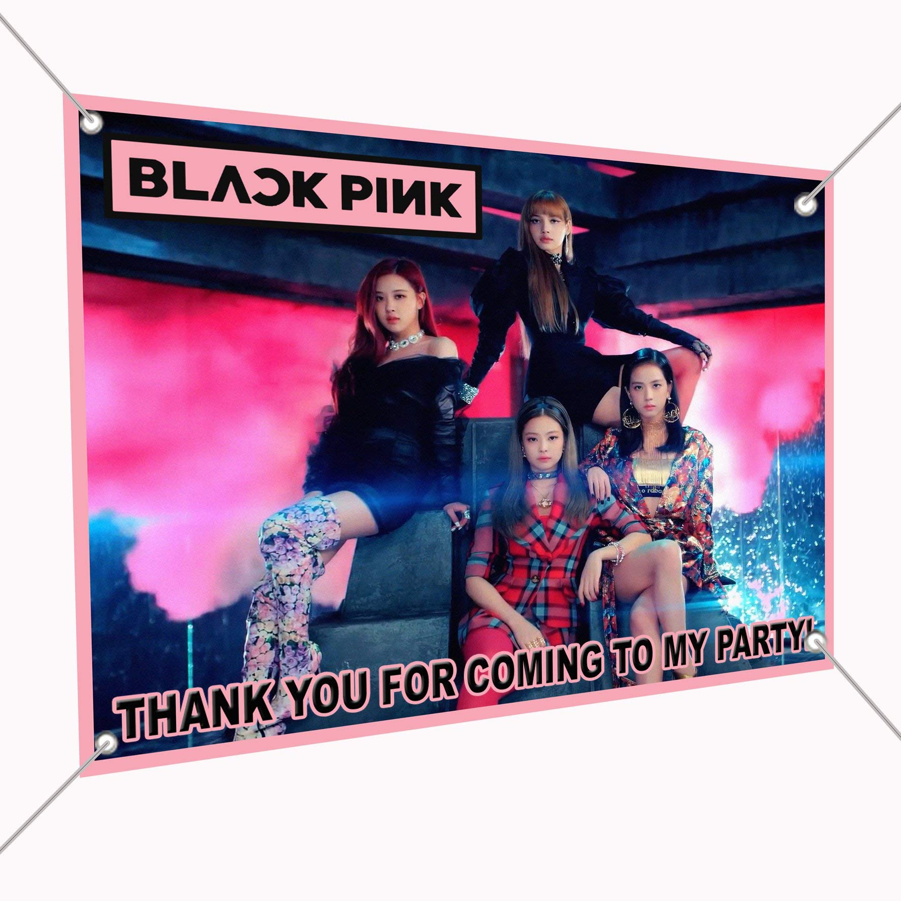 Black Pink Banner Bangtan Girl K-Pop Large Vinyl Indoor or Outdoor Banner Sign Poster Backdrop, Party Favor Decoration, 30'' x 24'', 2.5' x 2', South Korean Girl Band Jisoo Jennie Rosé Lisa