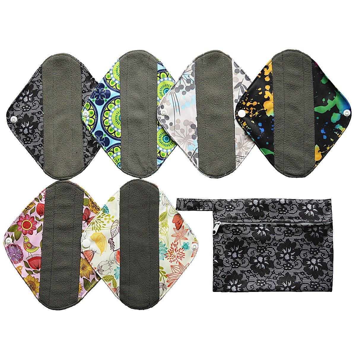 7pcs Set 1pc Mini Wet Bag +6pcs 8 Inch Charcoal Bamboo Mama Cloth/ Menstrual Pads/ Reusable Sanitary Pads / Panty Liners