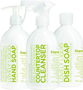 Sapadilla Rosemary + Peppermint Dish Soap, Hand Soap & Countertop Cleanser, Variety Pack