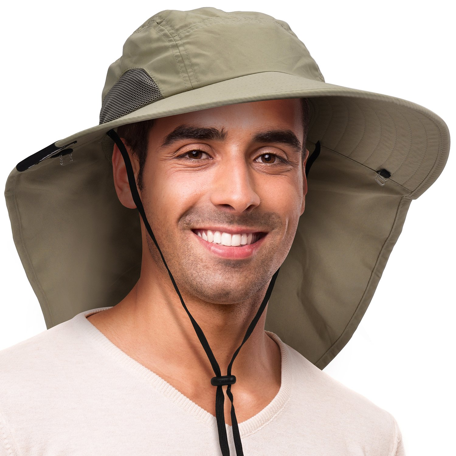 Solaris Outdoor Fishing Hat with Ear Neck Flap Cover Wide Brim Sun Protection Safari Cap for Men Women Hunting, Hiking, Camping, Boating & Outdoor Adventures by Solaris