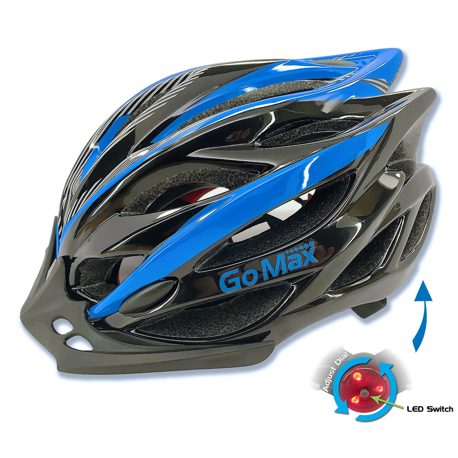 Adult Bike Helmet Adjustable Ultralight Inner Padding Chin Protector, visor w/Rear LED Tail Light