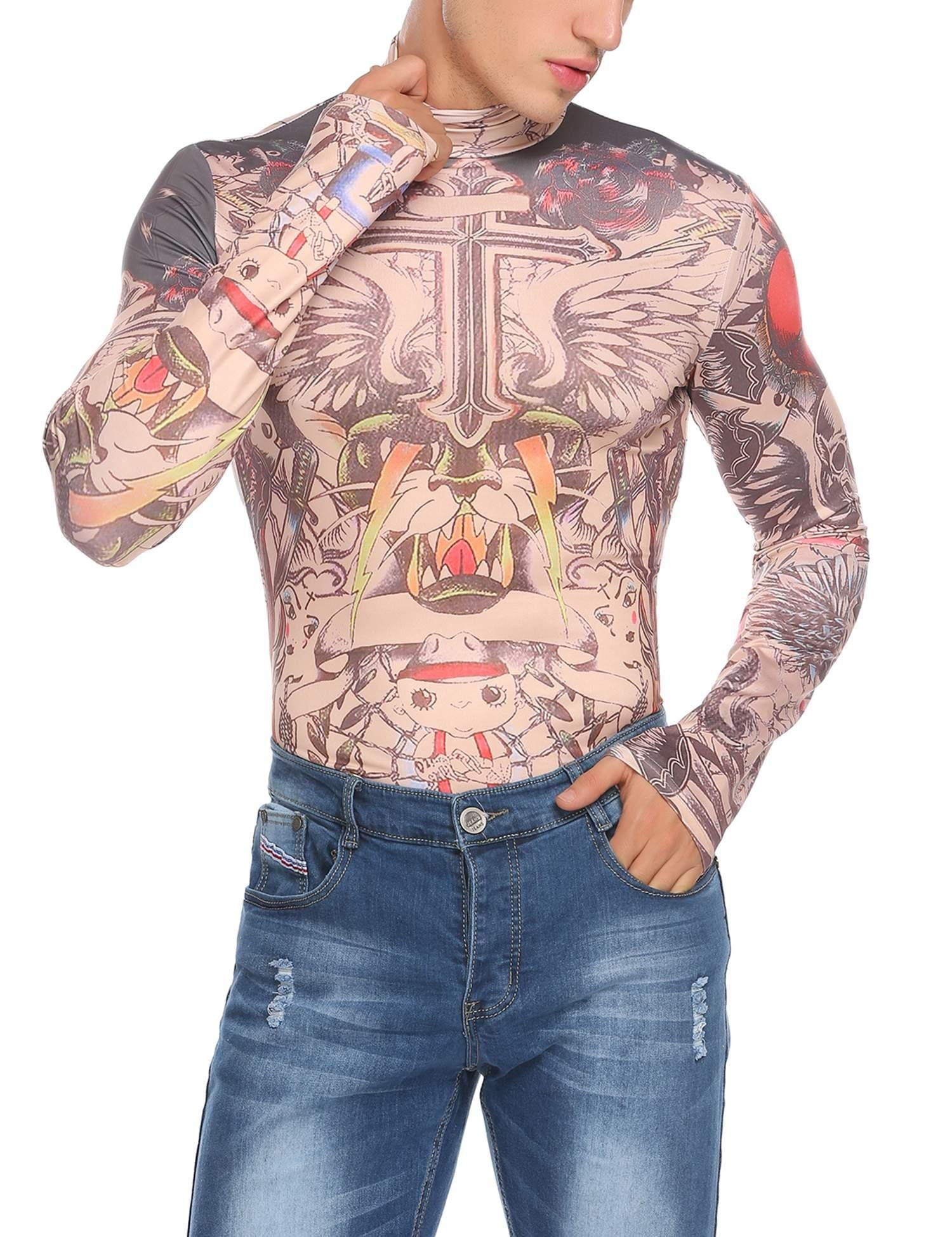 Goodfans Men's Fake Tattoo Tribal Inspired Print Elastic Long Sleeve T-Shirt Tops Clubwear by Goodfans (Image #3)