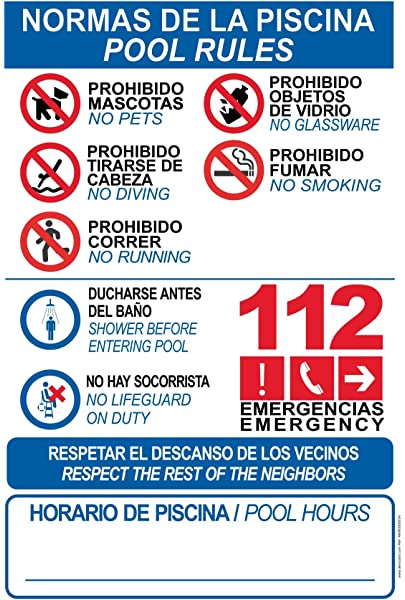Cartel resistente PVC - NORMAS DE PISCINA -POOL RULES ...
