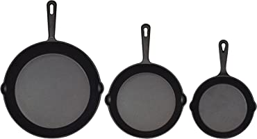 Jim Beam - Juego de 3 calaveras de hierro fundido preestañadas con distribución uniforme del calor y retención de calor (15,24 cm, 20,32 cm, 25,4 cm)