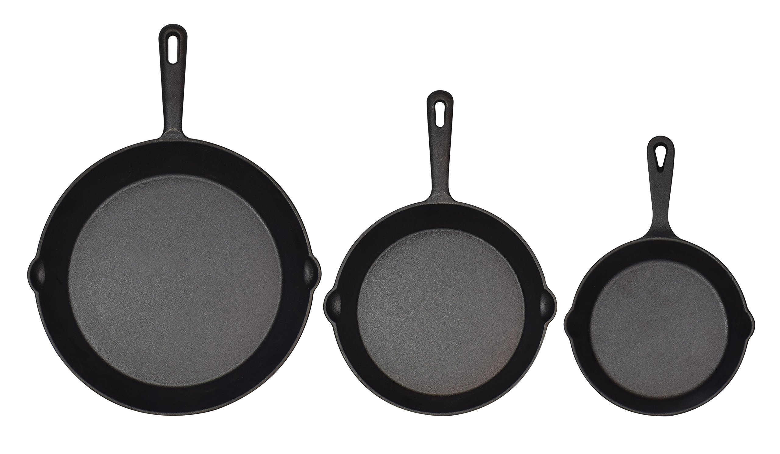 Jim Beam Set of 3 Pre Seasoned Cast Iron Skillets with Even Heat Distribution and Heat Retention - 6'' 8'' 10''