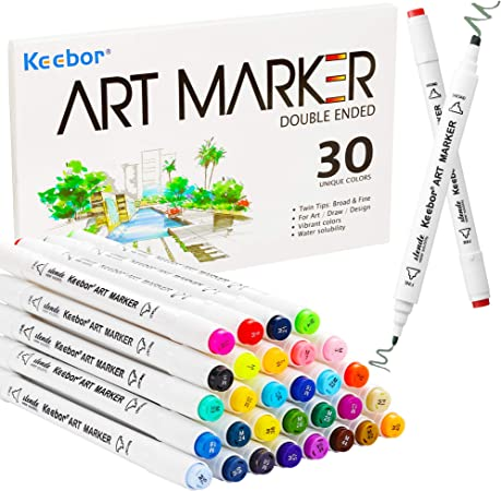 Keebor Premium 30 Colors Dual Tip Art Markers, Perfect for Kids Adult Coloring Books Sketching and Card Making, General Markers for Fine Arts Academy