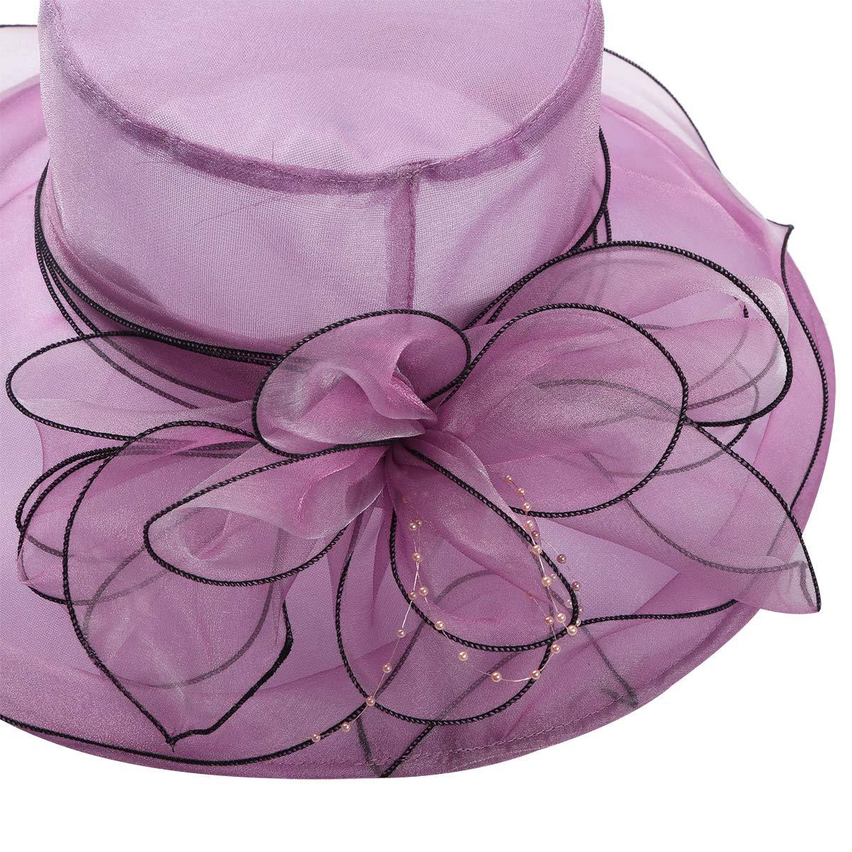IEFIEL Pamelas para Bodas Sombrero Mujer Pamela Ala Ancha de Organza Flor para Sol Verano Iglesia Fiesta Verano Vacaciones Vintaje Elegante Kentucky Derby Sun Hat