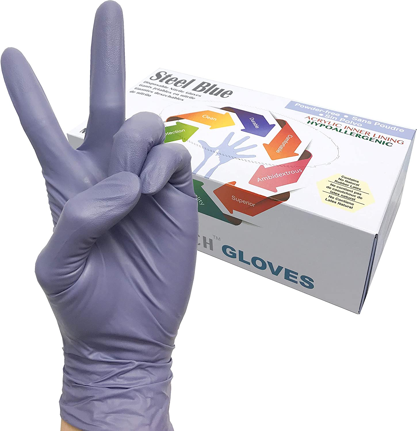 Infi-touch, Heavy Duty, Steel Blue, Nitrile Gloves, 9.5