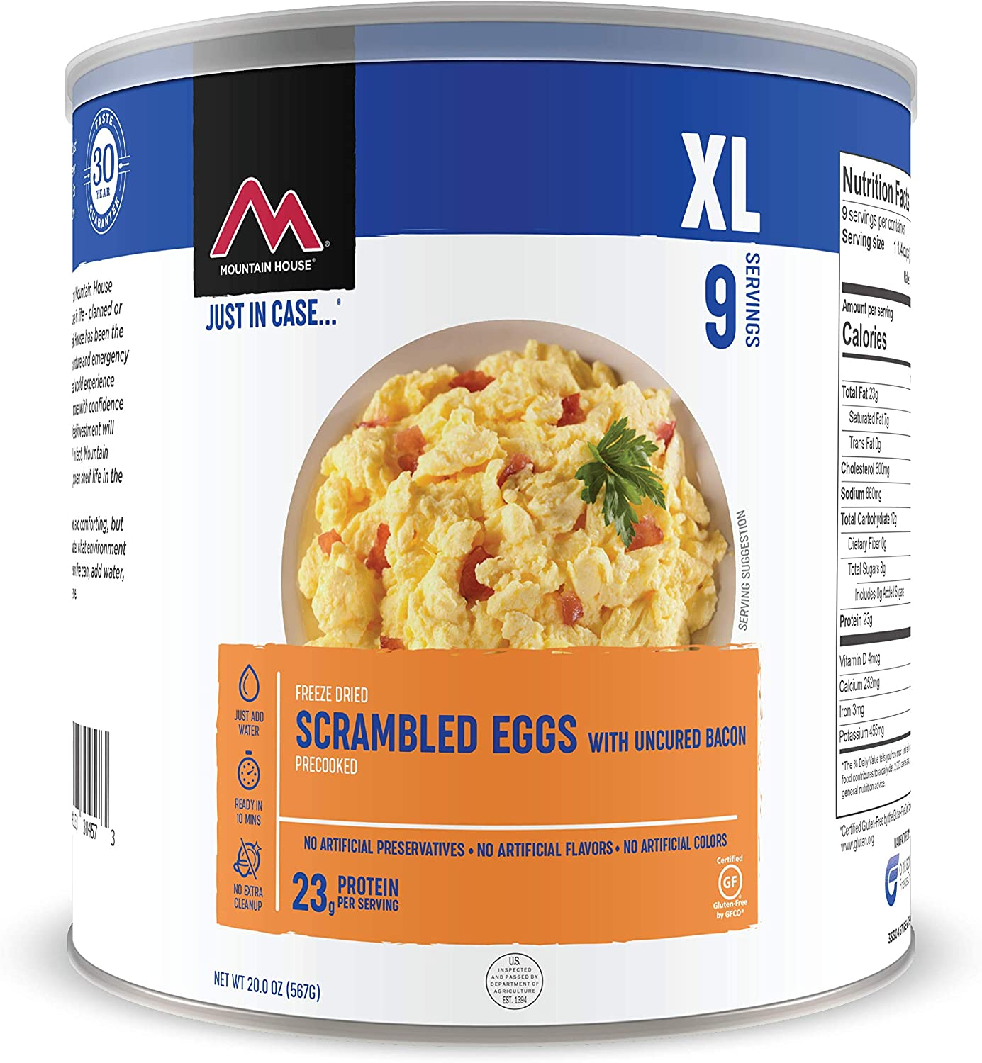Mountain House Scrambled Eggs with Bacon | Freeze Dried Backpacking & Camping Food | Survival & Emergency Food | Gluten-Free