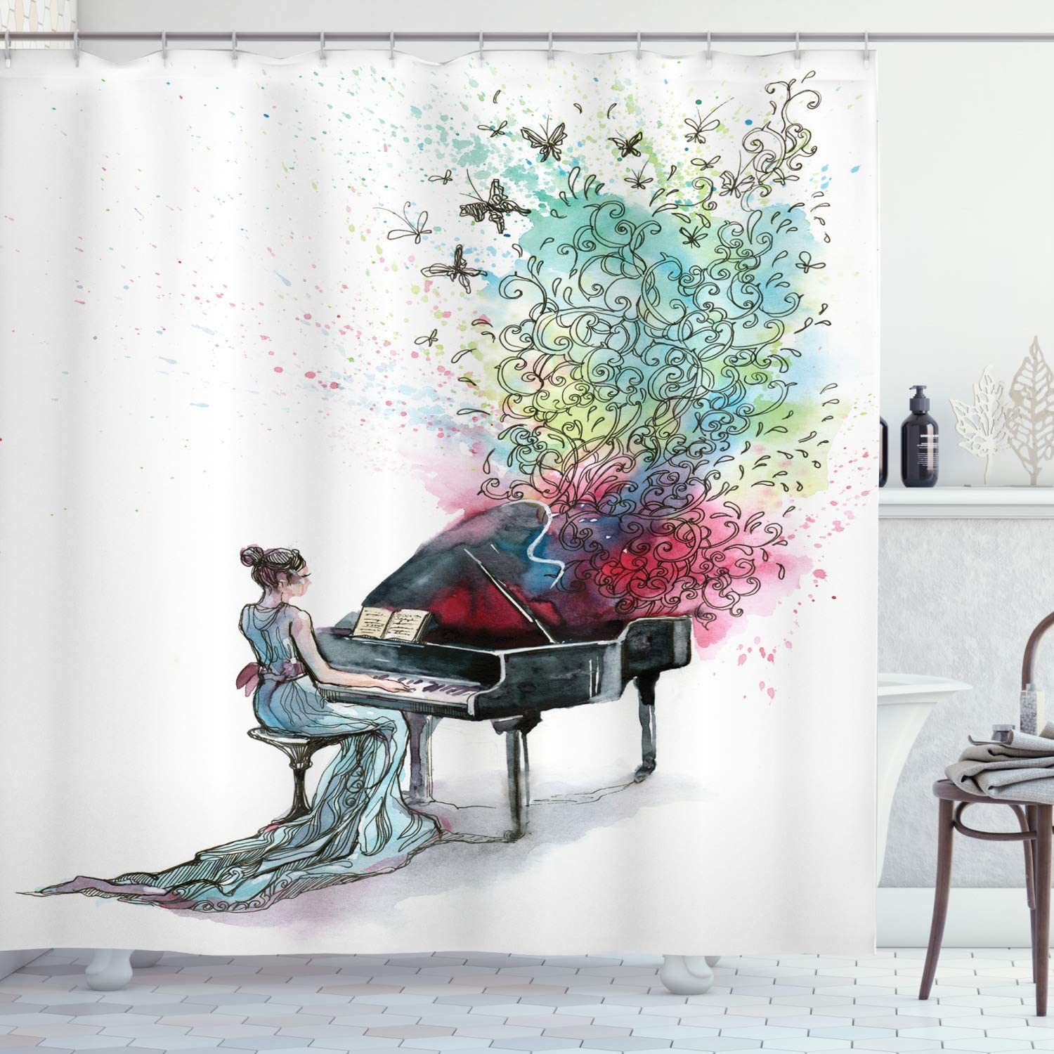 """Ambesonne Music Shower Curtain, Grand Piano Music Musician with Butterflies Ornamental Pianist Swirls Vintage Style, Cloth Fabric Bathroom Decor Set with Hooks, 75"""" Long, Pink Green"""