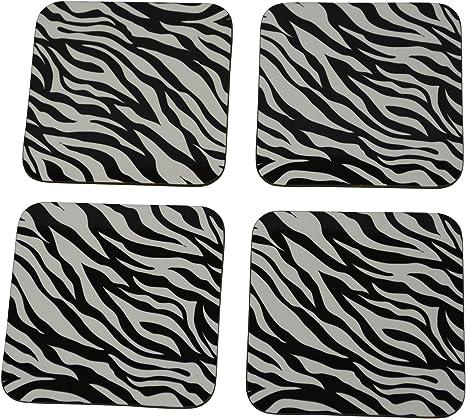 Amazon Com Decorative Zebra Print Drink Coaster Set Gift Home Kitchen Bar Barware Black White Designer Coasters