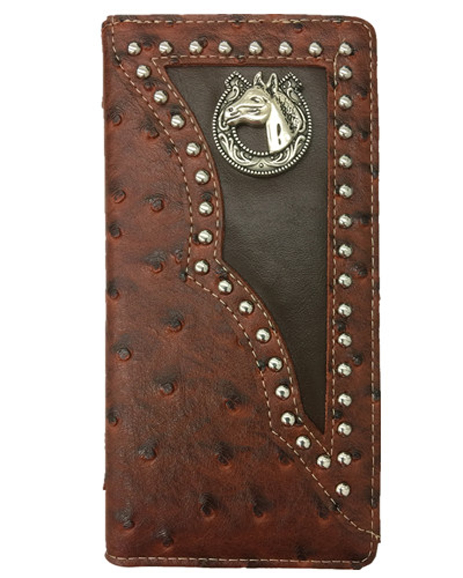 men horseshoe horse ostrich bifold slim tall long animal wallet (brown)