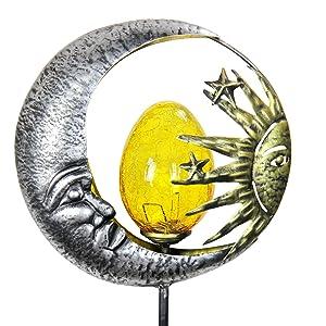 "Exhart Sun and Moon Garden Solar Stake Surrounding Light Up Amber Egg Made of Crackle Glass Garden Art – Metal Sun on Silver Circle Yard Stake, Ying & Yang Décor, Mother Nature Modern Art 8"" x 38"""